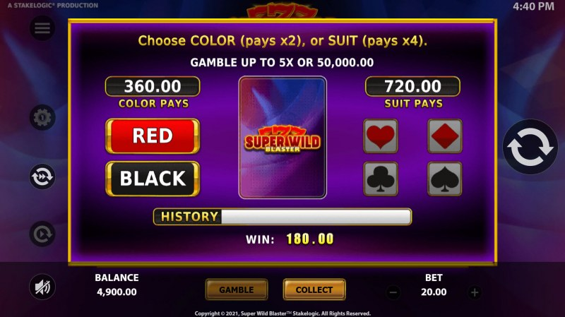 Super Wild Blaster :: Gamble feature is available after every win