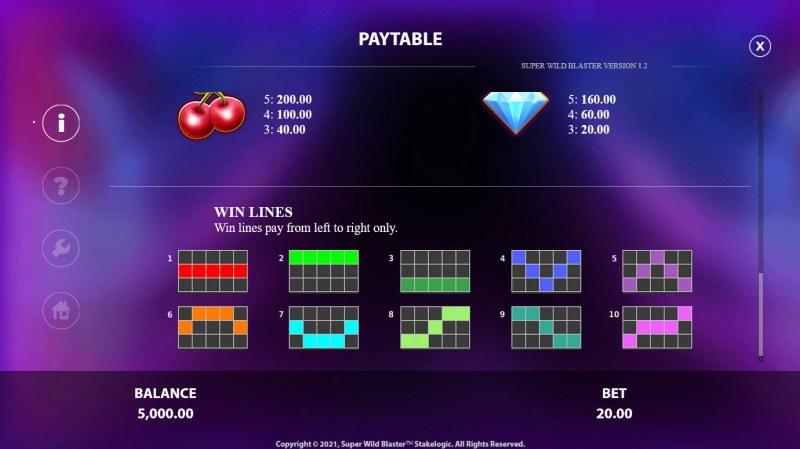 Super Wild Blaster :: Paylines 1-10