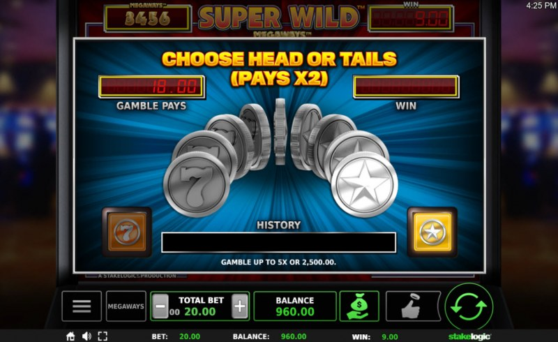 Super Wild Megaways :: Gamble Feature Game Board