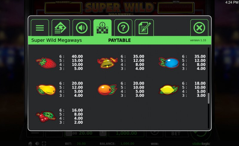 Super Wild Megaways :: Paytable