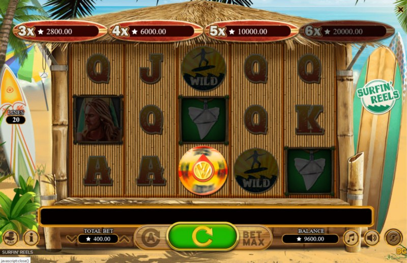 Surfin' Reels :: Landing the wheel of fortune symbol triggers a bonus payout