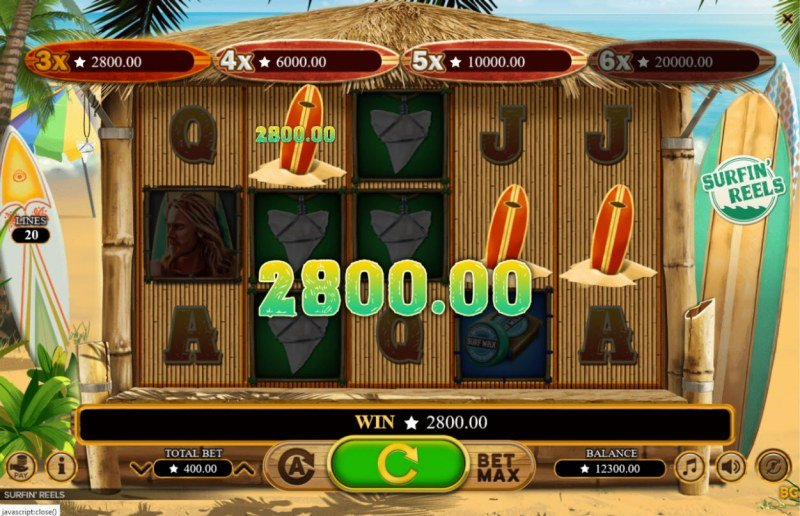 Surfin' Reels :: Three or more scatter symbols awards corresponding jackpot