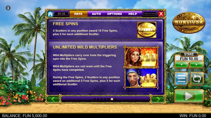 Survivor Megaways :: Free Spins Rules