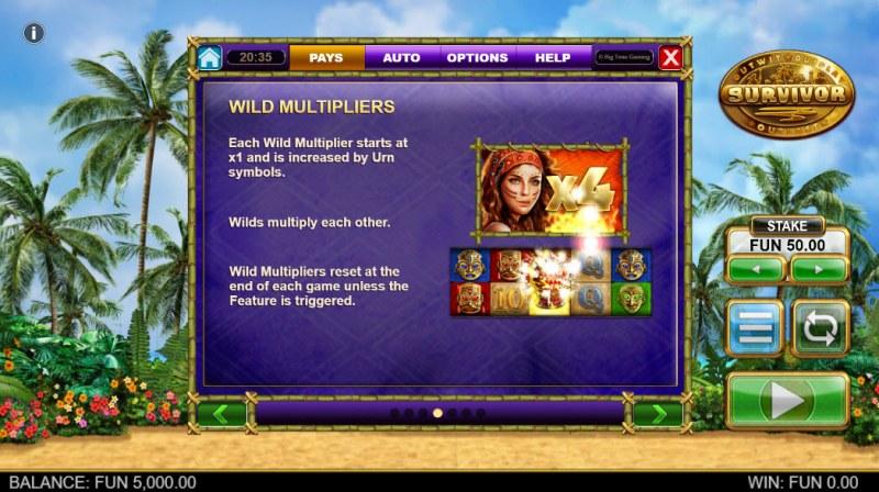 Survivor Megaways :: Wild Multipliers