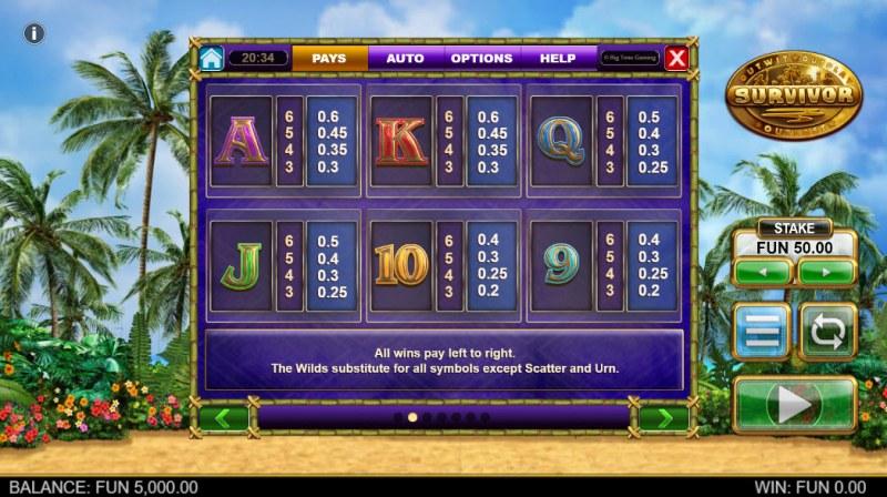 Survivor Megaways :: Paytable - Low Value Symbols