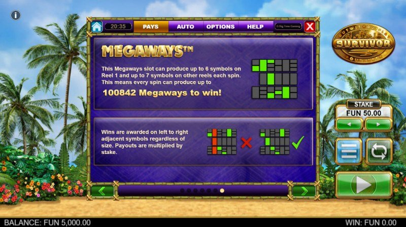 Survivor Megaways :: Up to 100842 Ways to Win with Megaways