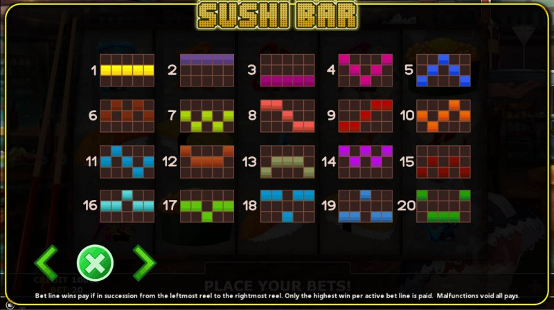Sushi Bar :: Paylines 1-20