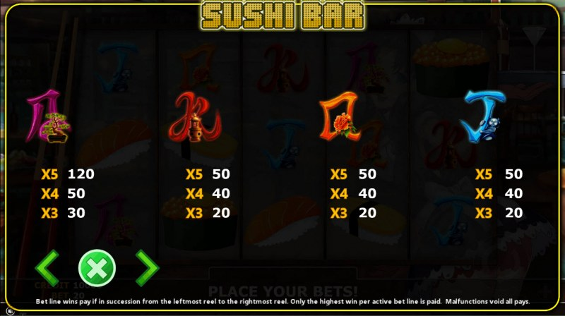 Sushi Bar :: Paytable - Low Value Symbols