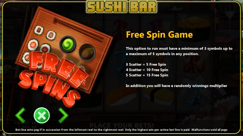 Sushi Bar :: Free Spins Rules