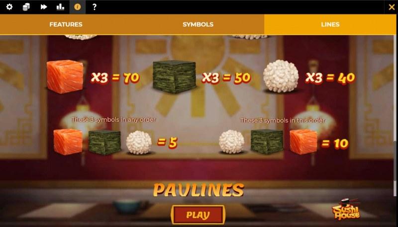 Sushi House :: Paytable - Low Value Symbols