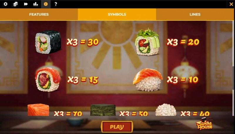 Sushi House :: Paytable - Medium Value Symbols