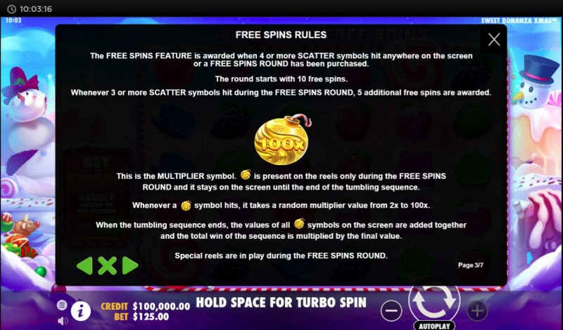 Sweet Bonanza Xmas :: Free Spins Rules