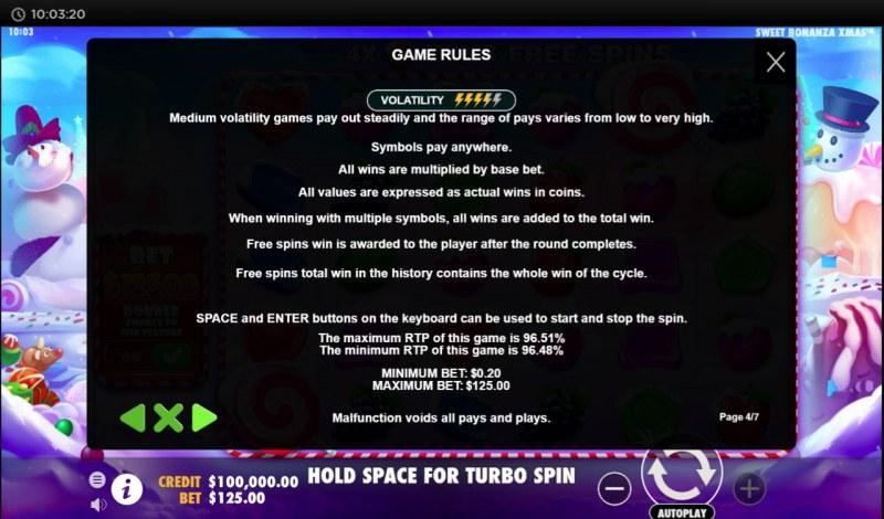 Sweet Bonanza Xmas :: General Game Rules