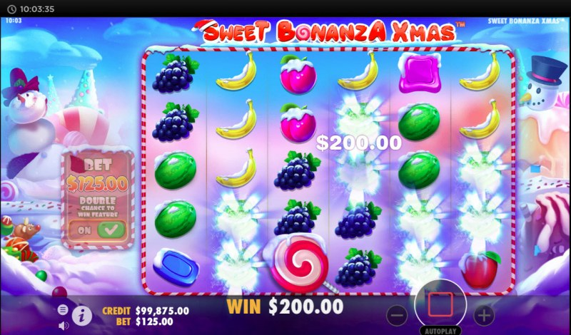 Sweet Bonanza Xmas :: Winning symbols are removed from the reels and new symbols drop in place