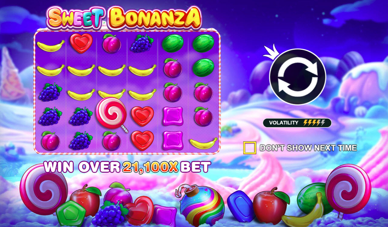 Play slots at Casinia: Casinia featuring the Video Slots Sweet Bonanza with a maximum payout of $500,000