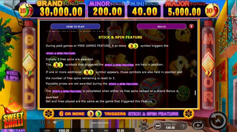 Sweet Chilli Electric Cash :: Stick and Spin Feature