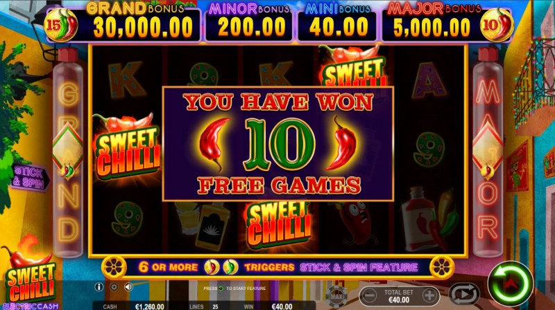 Sweet Chilli Electric Cash :: 10 free spins awarded