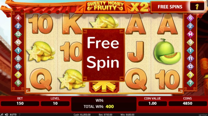 Sweety Honey Fruity :: Free spins triggered by winning fruit combinations