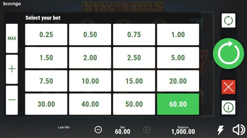 Sync Reels :: Select your bet