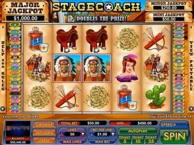 Slot Madness featuring the Video Slots Stagecoach with a maximum payout of $5,000