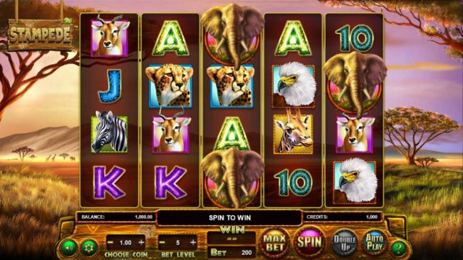 Vegas Crest featuring the Video Slots Stampede with a maximum payout of $769,500