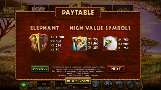 Neder featuring the Video Slots Stampede with a maximum payout of $769,500
