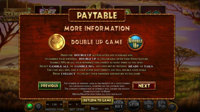 Double Up Gamble Feature Rules