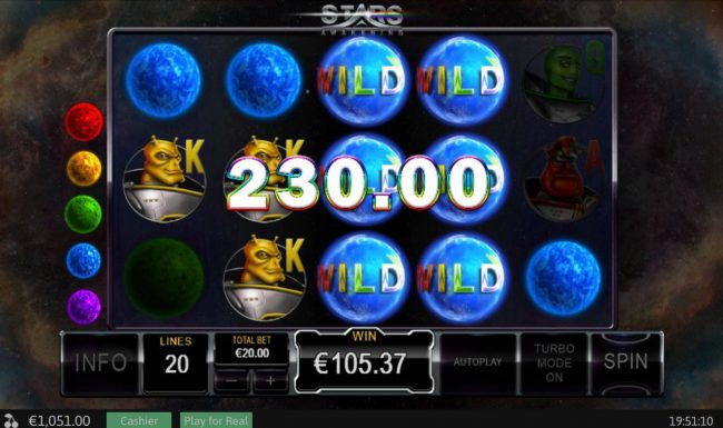 AC Casino featuring the Video Slots Stars Awakening with a maximum payout of $50,000
