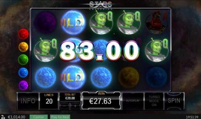 Noble featuring the Video Slots Stars Awakening with a maximum payout of $50,000