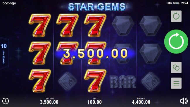 Casino Dingo featuring the Video Slots Star Gems with a maximum payout of $25,000