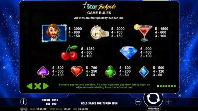 Mayflower featuring the Video Slots Star Jackpots with a maximum payout of $100,000