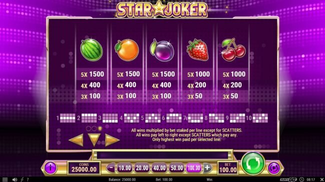 Casino Mate featuring the Video Slots Star Joker with a maximum payout of $500,000