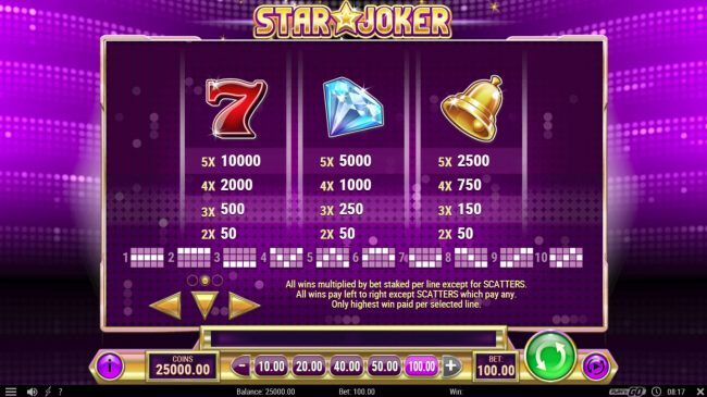 Play slots at Spin Hill: Spin Hill featuring the Video Slots Star Joker with a maximum payout of $500,000