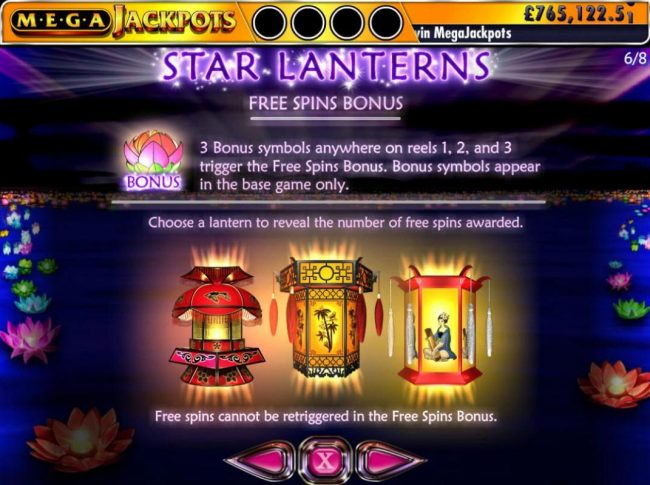 Free Spins Bonus - 3 Bonus symbols anyhwere on reels 1, 2 and 3 trigger the Free Spins Bonus. Bonus symbols appear in the base game only.