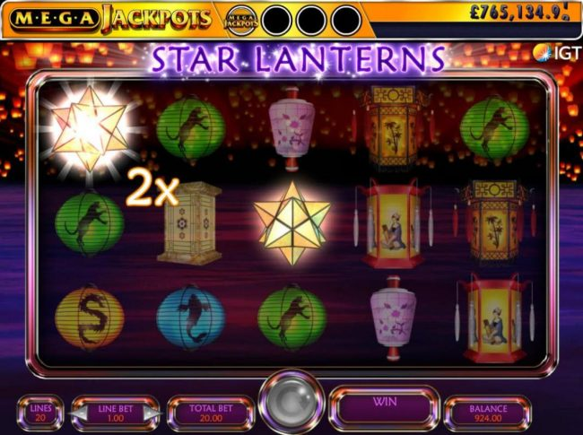 Star Lanterns landing on the reels will reveal a hidden symbol and/or multiplier.