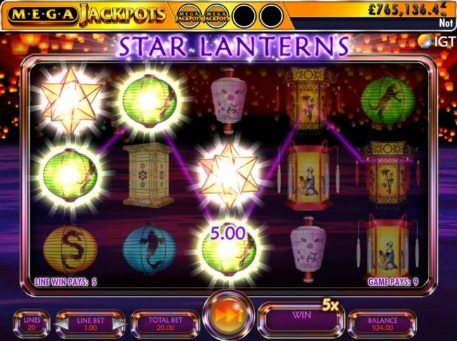 Star symbols reveal two MegaJackpots symbols and a 5x multiplier