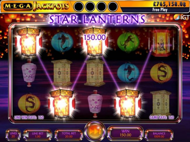 A winning Four of a Kind leads to a 150.00 jackpot.
