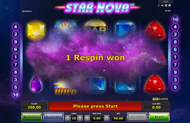 Pamper featuring the Video Slots Star Nova with a maximum payout of $25,000