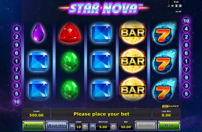 Quasar featuring the Video Slots Star Nova with a maximum payout of $25,000