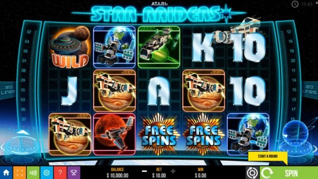 Star Raiders :: Main game board featuring five reels and 20 paylines with a $500 max payout.