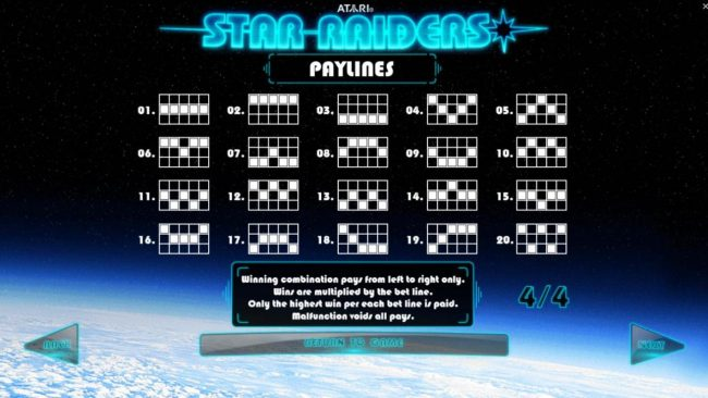 Star Raiders :: Payline Diagrams 1-20. Winning combination pays from left to right only. Wins are multiplied by the bet line. Only the Highest win per each bet line is paid.