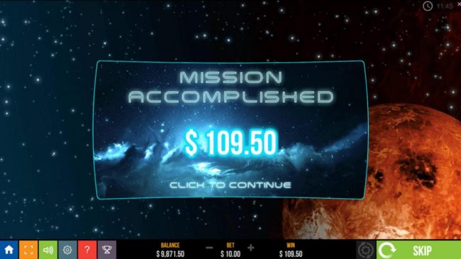 Star Raiders :: A total of 109.50 is awarded player for free spins play.