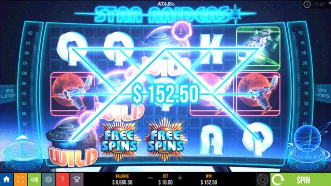 Star Raiders :: Multiple win lines triggers a 152,50 pay out award.