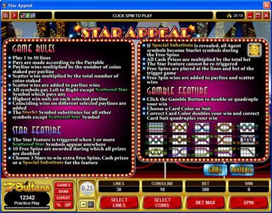 Play Hippo featuring the Video Slots Star Appeal with a maximum payout of $12,500