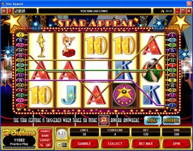 Winward featuring the Video Slots Star Appeal with a maximum payout of $12,500