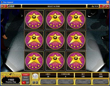 Buran featuring the Video Slots Star Appeal with a maximum payout of $12,500