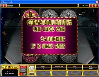 Vegas Palms featuring the Video Slots Star Appeal with a maximum payout of $12,500