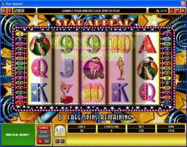 Players Palace featuring the Video Slots Star Appeal with a maximum payout of $12,500