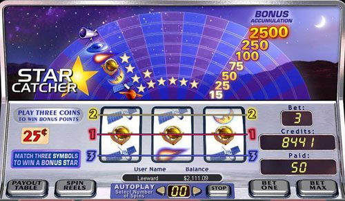 Bonanza featuring the video-Slots Star Catcher with a maximum payout of 2,5000x
