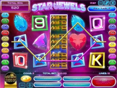 DaVincis Gold featuring the Video Slots Star Jewels with a maximum payout of $50,000